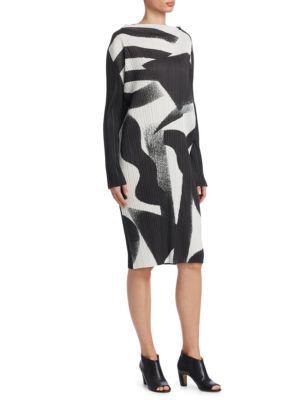 Monochrome Long Sleeve Dres, Black-White