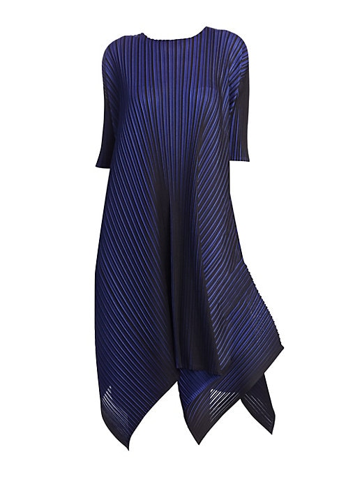 """Image of Made with a """"garment pleating"""" technique that is unique to the brand, this draped frock is detailed with a directional zig-zag hem. The pleated fabric is lightweight, wrinkle-proof and machine washable, offering style and comfort all at once. Roundneck. S"""