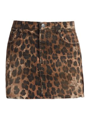 14c34db73 R13 High Waist Leopard Print Distressed Denim Mini Skirt In Neutrals ...