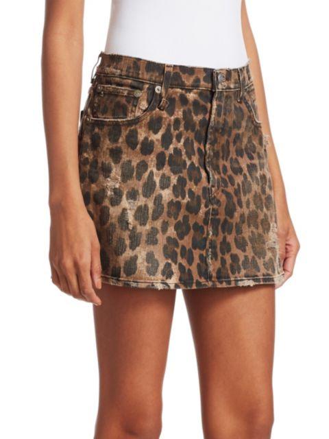 R13 High-Rise Leopard Print Mini Skirt | SaksFifthAvenue