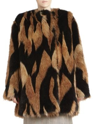 Intarsia Faux-Fur Quilted-Lining Mid-Thigh Coat, Black