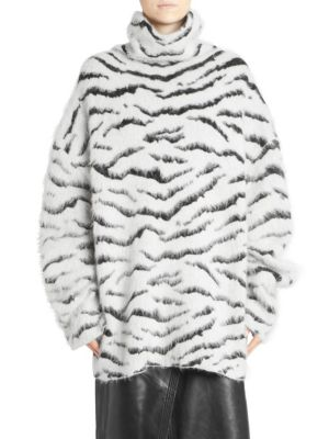 Zebra-Print Brushed Mohair-Blend Turtleneck Sweater, White-Black