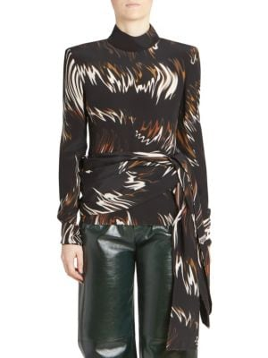 Mock-Neck Long-Sleeve Wave-Print Blouse W/ Side Sash in Black