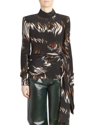 Mock-Neck Long-Sleeve Wave-Print Blouse W/ Side Sash, Black-Brown