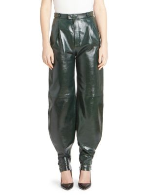 High-Waist Snap-Cuff Lamb Leather Trousers in Green