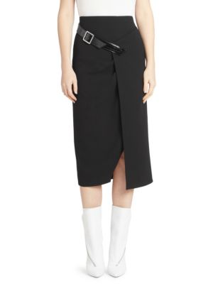 A-Line Fitted Wool Crepe Midi Skirt W/ Buckle Detail, Black