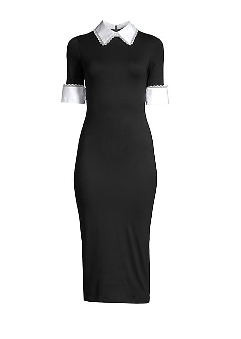 """Image of Fitted jersey midi dress flaunts lace-trimmed collar and cuffs. Point collar. Short cuffed sleeves. Back zip close. About 47"""" from shoulder to hem. Viscose/elastane/cotton/nylon. Dry clean. Imported. Model shown is 5'10"""" (177cm) wearing a US size 4."""