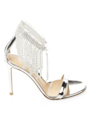 Silver Crystal Ankle Sandals by Gianvito Rossi