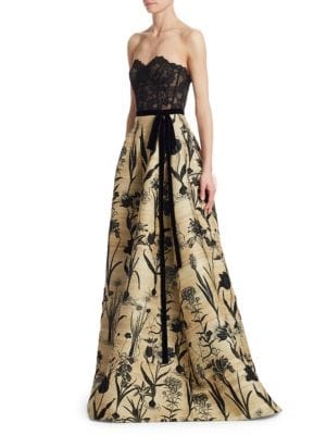 Strapless Lace Bustier Full-Skirt Evening Ball Gown, Natural-Black