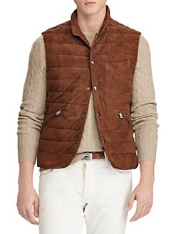 Product image. QUICK VIEW. Polo Ralph Lauren. Quilted Suede Vest. $898.00.  Varsity Jacket NAVY