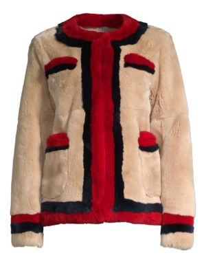 POLOGEORGIS Boxy Rabbit Fur Jacket in Camel Navy
