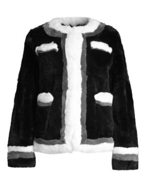 POLOGEORGIS Boxy Rabbit Fur Jacket in Black White