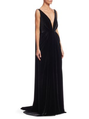 Sleeveless V Neck Column Gown by Oscar De La Renta