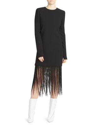 Long-Sleeve Crewneck Sheath Wool Crepe Cocktail Dress W/ Fringe Hem in Black