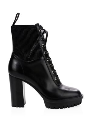 Leather Lace Up Stretch Bootie by Gianvito Rossi