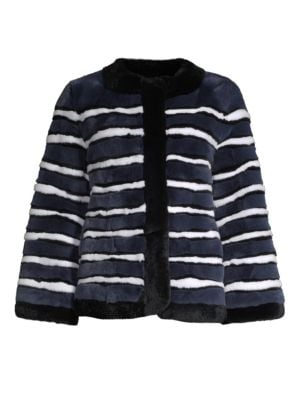POLOGEORGIS Stripe Rabbit Fur Jacket in Navy White