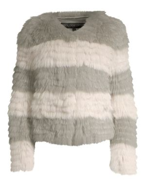 POLOGEORGIS Stripe Fox-Fur Jacket in Wild Dove