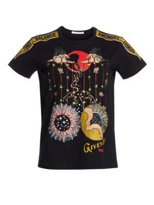 Libra-Print Crewneck Cap-Sleeve Logo Cotton Jersey T-Shirt in Black