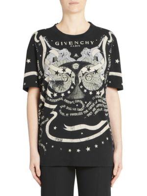 GIVENCHY Gemini-Horoscope Crewneck Short-Sleeve Cotton Tee, Black