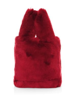 POLOGEORGIS Rabbit Fur Tote in Dark Red