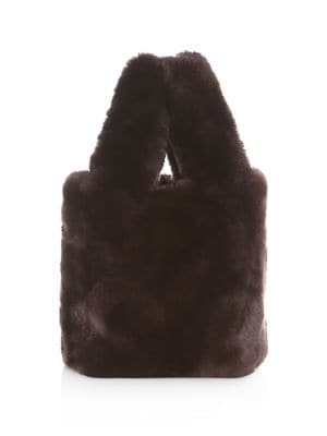POLOGEORGIS Rabbit Fur Tote Bag in Chocolate