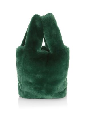 POLOGEORGIS Rabbit Fur Tote in Hunter Green