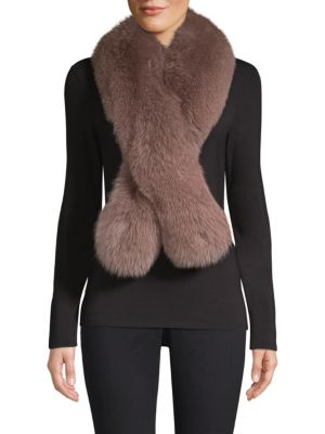 POLOGEORGIS Fox Fur Stole in Deep Taupe