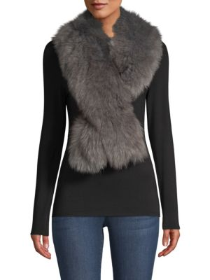 POLOGEORGIS Fox Fur Stole in Dark Grey