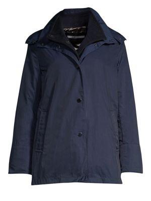 JANE POST Loro Piana Cashmere Mandarin Three-In-One Double Rain Coat in Navy