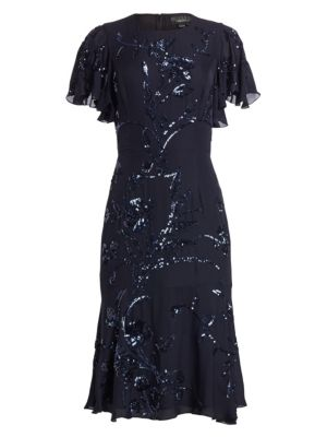 AHLUWALIA Embroidered Silk Flutter-Sleeve Dress in Midnight