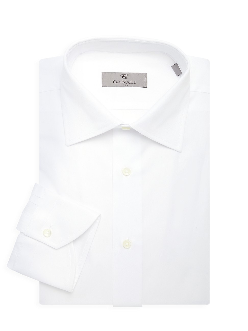 Canali Modern-fit Solid Dress Shirt In White