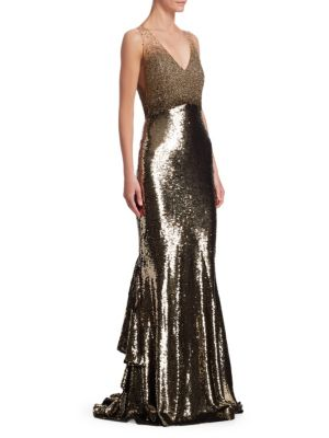 AHLUWALIA Anna Sequin Mermaid Gown in Gold