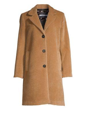 JANE POST Single-Breasted Alpaca & Wool Boy Coat in Camel