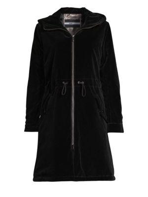 Long Velvet Parka Coat W/ Hood, Black