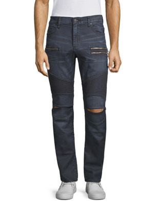 TRUE RELIGION Slim-Fit Distressed Drift Moto Pants