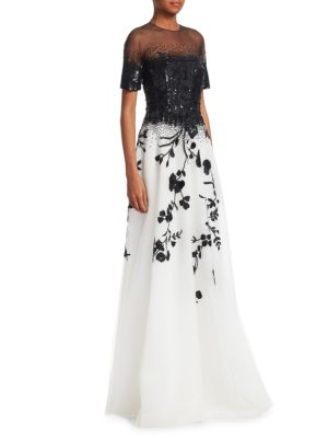 AHLUWALIA Floral Embroidered A-Line Gown in Jet-Ivory