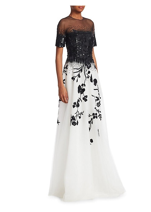 Image of Contrast floral beading lends eye-catching detail to this bold colorblocked dress while the semi-sheer illusion neckline conveys an air of romance. Roundneck. Long sleeves. Concealed back zip closure. Back buttoned keyhole. Lined. Nylon. Dry clean. Import
