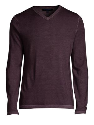 PATRICK ASSARAF Regular-Fit Magic Wash Wool V-Neck Sweater in Amethyst