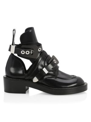 Creeper Leather Buckle Combat Boots by Balenciaga