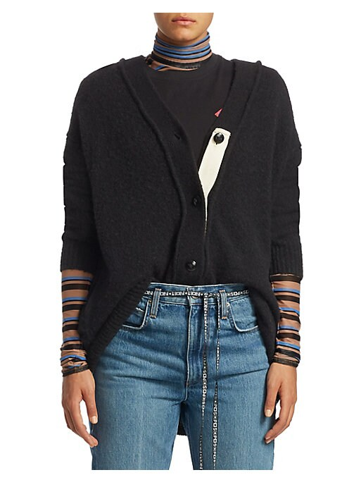 Image of This wool cardigan features a luscious brushed cardigan with a contrast patch. Designed with a rib-knit trim, it accentuates the piping on the trim for a contemporary sensibility.V-neck. Long sleeves. Rib-knit cuffs and hem. Button front. Knit finish. Alp