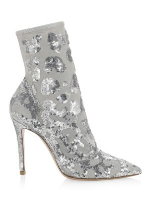 Sequined Mesh Ankle Booties in Silver