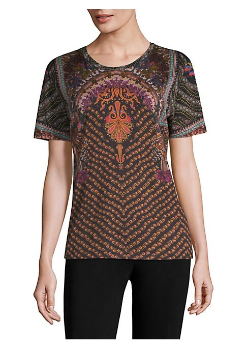 """Image of A fine Italian cotton T-shirt patterned in charming paisley print. Crewneck. Short sleeves. Cotton. Dry clean. Made in Italy. SIZE & FIT. About 25"""" from shoulder to hem. Model shown is 5'10"""" (177cm) wearing US size 4."""