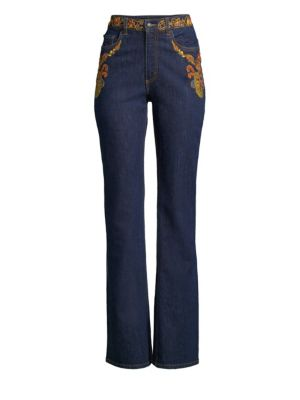 High-Rise Embroidered Flare-Leg Jeans in Blue