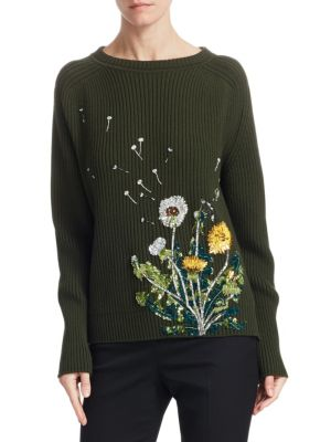 Dandelion-Embroidered Long-Sleeve Pullover, Olive