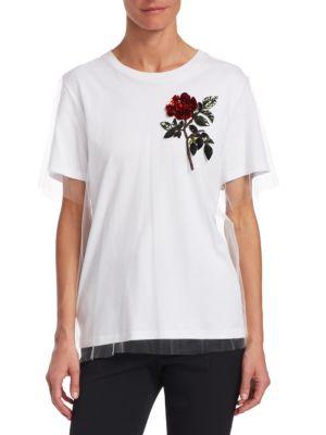 Crewneck Short-Sleeve Tulle Overlay Cotton Tee W/ Sequin Rose, White