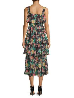 LAUNDRY BY SHELLI SEGAL Midi dresses Floral Tiered Ruffled Midi Dress