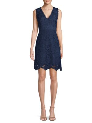 V Neck Lace Fit And Flare Dress by Laundry By Shelli Segal