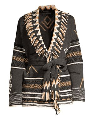 360CASHMERE Belted Fringe Wool & Cashmere-Blend Cardigan in Grey Multi