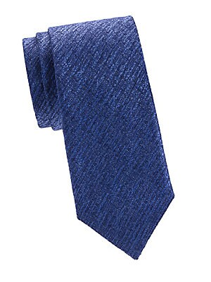"Image of An elegant silk tie with a textured finish. Silk Dry clean Made in Italy SIZE Width, 3"". Men Luxury Coll - Canali Clothing. Canali. Color: Navy."