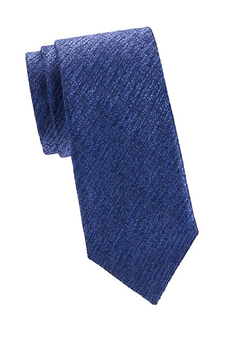 "Image of An elegant silk tie with a textured finish. Silk. Dry clean. Made in Italy. SIZE. Width, 3""."